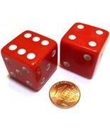 2x JUMBO Dice Six Sided D6 25mm Standard Square Edged Die RED With White... - $7.99