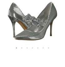 Michael Kors Paris Pump Sequins Silver size 9.5 MSRP $120 - $56.99