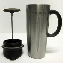 STARBUCKS COFFEE COMPANY 2003 BARISTA 16 oz STAINLESS STEEL PRESS TUMBLER  - $42.95