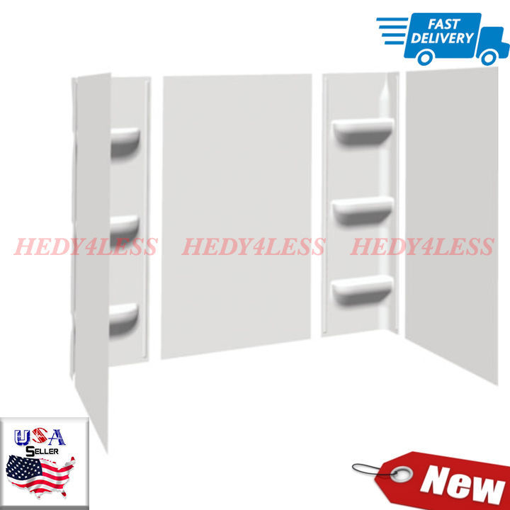 Bath Tub Shower Wall Surround 5 Piece White Glue-Up Wall Kit 6 shelves NEW - $148.38