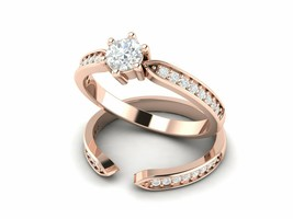 Wedding Engagement Halo Rose Gold Ring 0.55 Carat Created Diamond 925 Si... - $29.92