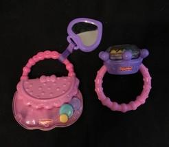 Baby Rattle Teether Girl Diamond Ring & Purse Brilliant Basics Fisher Price - $7.56