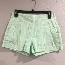 J. Crew | 00 Green White Striped Seersucker Pleated Womens Shorts - $13.98