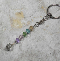 Flower Crystal Beaded Handmade Keychain Split Key Ring Pink Purple Green... - $14.54