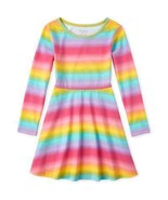 NWT The Childrens Place Girls Rainbow Ombre Long Sleeve Skater Dress - $10.99