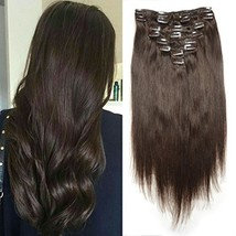 Luwigs 140g 18 inches #2 Dark Brown Clip in Human Hair Extension Silky S... - $48.66