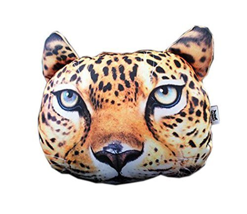 3D Cute Pet Dogs and Cats Face Head Pillow, Leopard