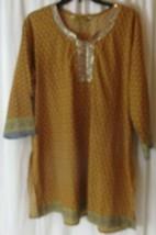 Stylish Chakra Womens 48 Brown Embellished Boho Tunic Blouse Top Shirt  - $19.79