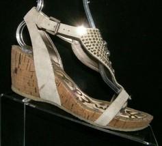 Sam Edelman 'Neva' gray thong jeweled slingback cork sandal wedges 7.5M - $33.30