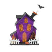 "Midwest 11"" B/O Glitter Whimsical Black Orange Purple Haunted Halloween ... - $50.23"