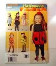 Simplicity 0809 Size 1/2-4 Toddler's Costumes Ladybug Pumpkin Bee Princess - $11.64