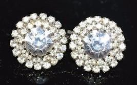 VTG Silver Tone Clear Rhinestone Art Deco Style Circle Stud Flower Clip Earrings - $29.70