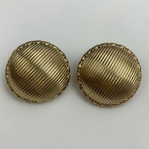 Marino Gold Tone Clip On Earrings Vintage Signed Chunky Round Textured D... - $14.80