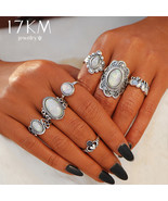 17KM® Boho Vintage Flower Opal Rings For Women Geometric Pattern Big Knu... - $4.52+