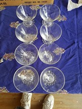 Lot of 8 Vtg. Anchor Hocking Boopie Pattern Clear 3 1/2 Parfait Cups - $22.09