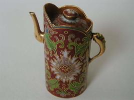 Vintage Mini Cloisonne Enamel Red tea pot - $23.70