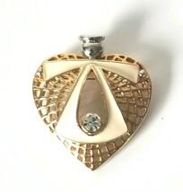 Vintage Heart Angel Brooch Pin Gold Silver Tone White Enamel Rhinestone  - $16.78