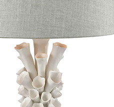 Designer Coastal Table Lamp White Flowers Gray Linen Shade Horchow - $246.51