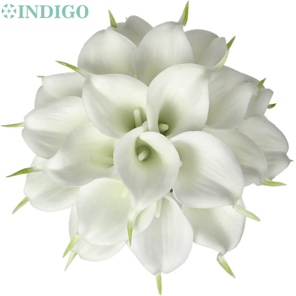 Indigo 24pcs white mini calla lily 14 calla lily bridal wedding bouquet latex real touch flower