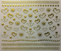 Nail Art Decal Stickers Gold or Silver Hearts & Anchers Valentine's Day BLE125J - $3.19