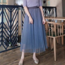 Dusty Blue Pleated Tulle Skirt Plus Size High Waist Pleat Bridesmaid Long Skirt