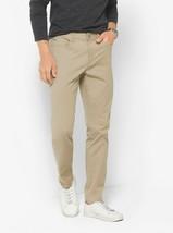 Michael Kors Mens Slim-Fit Cotton-Twill Five-Pocket Pants 40X34 Sand NWT - $99.50