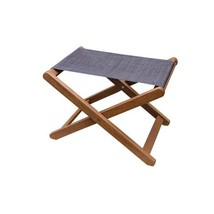 Dark Brown Sling and Eucalyptus Outdoor Ottoman - £51.32 GBP