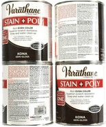 4 Cans Varathane 32 Oz Stain & Poly 266153 Kona Semi Gloss Rich Even Color - $53.99