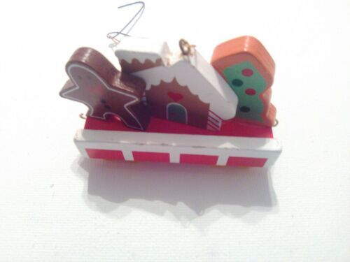 Vintage Avon Gift Collection Wooden Christmas Train Cookie Car Holiday Ornament image 2