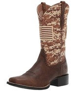 Ariat Women's ROUND UP PATRIOT Boot, distressed brown, 9 C US - $121.14