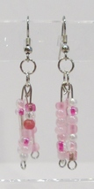 handmade pink bead dangle earrings - £6.88 GBP