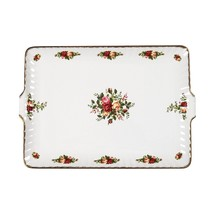 Royal Albert OLD COUNTRY ROSES Rectangular Handled Serving Tray Fluted N... - $42.06