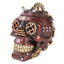 Mad Max Style Steampunk Cool Punk Gearwork Rock Skull Jewelry Box Figurine - $25.99