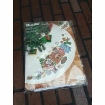 "Bucilla 83712 Needlepoint Kit Santas Visit 44"" Round Tree Skirt Christmas Vtg - $48.50"