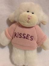 Mini Boyds Ornament Plush White Lamb dog Pink Hersheys Kiss Embroidered ... - $8.59