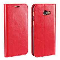 Genuine Leather Wallet Case with Stand For Samsung Galaxy A5 2017 - Red  - $10.99