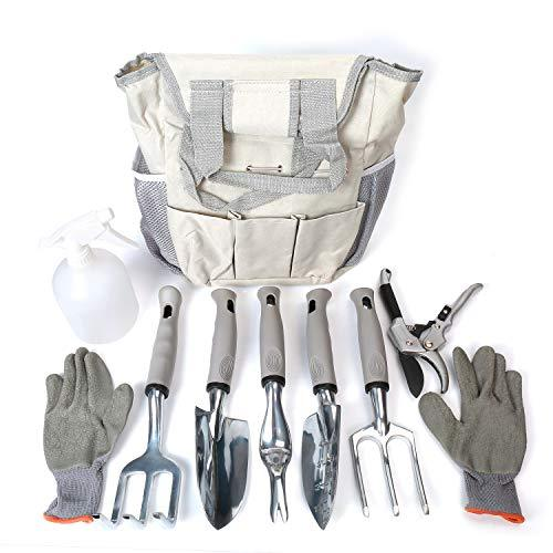 Garden Tool Set 9 Piece - Includes Garden Tote, Spray Bottle, Work Gloves and 6
