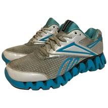 Reebok Womens Zig Tech Zig Fuel Running Shoes White Glacier Blue Silver Size 7 - $29.69