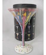 Lolita Hand Painted Glass Martini Collection Happy Birthday Recipe On Bo... - $12.85