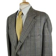 Vintage Brooks Brothers Maker Mens Sport Coat 45R Windowpane Plaid Three... - $21.99