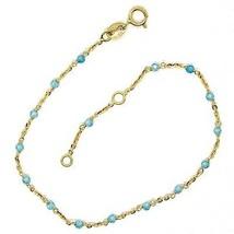 Bracelet or Jaune 18K 750, Cubic Zirconia Bleus, Sphères à Facettes, Rolo image 2