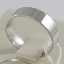 18K WHITE GOLD WEDDING BAND UNOAERRE SQUARE RING MARRIAGE 5 MM, MADE IN ITALY image 2