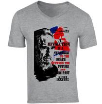 Fidel Castro Revolution Quote 1 - New Cotton Grey V-NECK Tshirt - $25.63