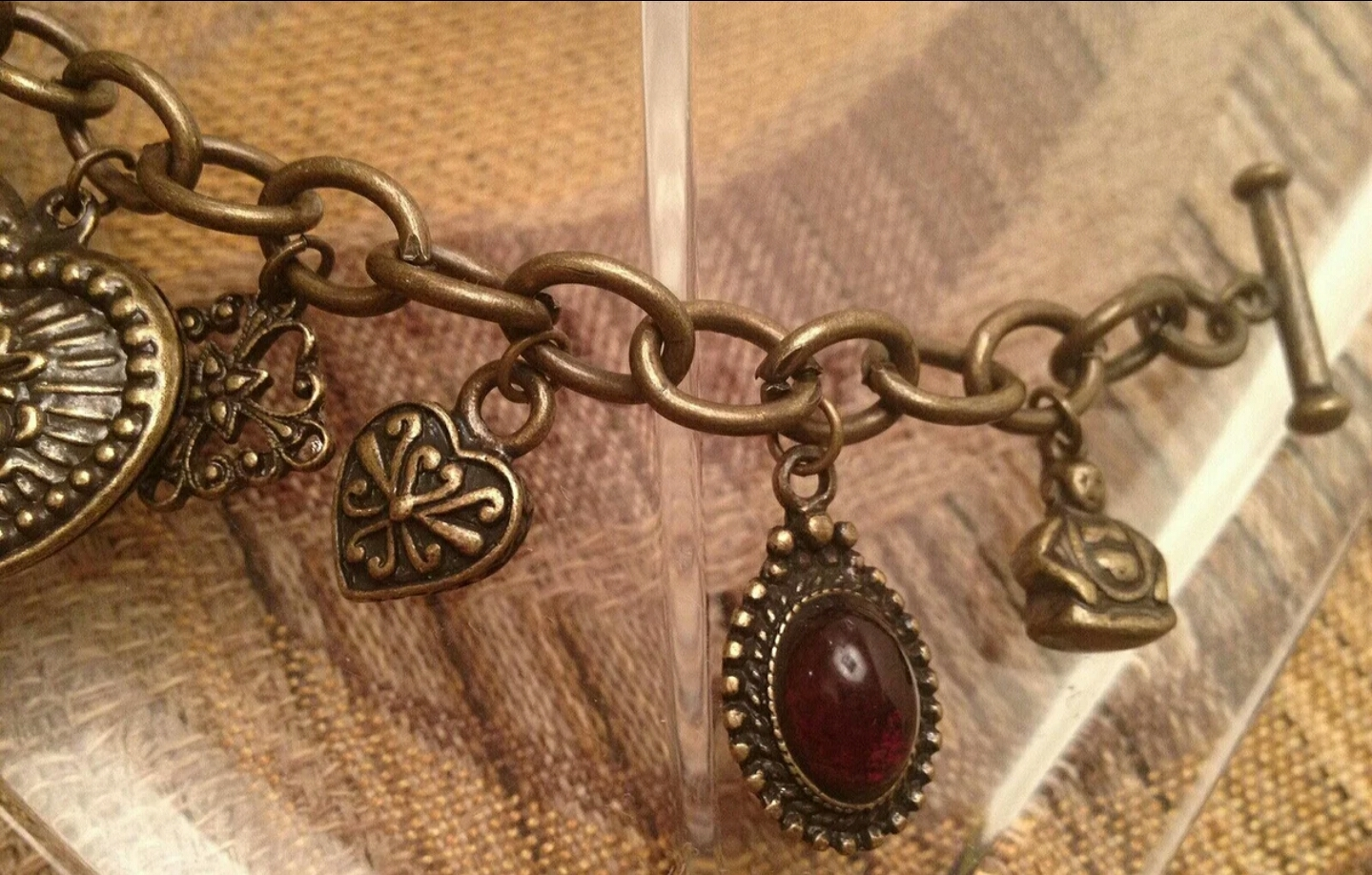 Lady Luck Cabochon Antiqued Brass Charm Toggle Bracelet