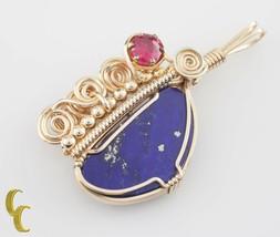 Handmade Art Deco Gold Filled Wire Coil Lapis Lazuli & Pink Tourmaline P... - $550.44