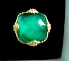 JUDITH RIPKA 14K GOLD CLAD STERLING SILVER GREEN GODDESS RING, SZ 6 w G... - $219.95