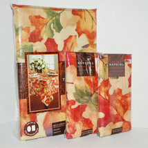 Harvest Festival Fall Leaves Fabric Tablecloth 60 x 102 Oblong & 8 Napki... - $64.95