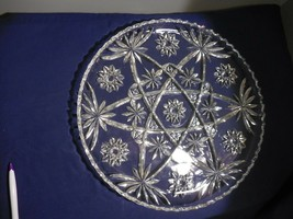 "Anchor Hocking Prescut Clear Cupped Edge Torte Plate 13 1/2"" Platter  Fa... - $11.99"