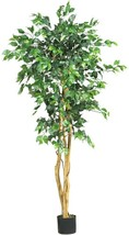 Ficus Tree Artificial Plant 5 ft. High Natural Trunks Indoor Plastic Green - $69.53
