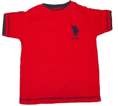 Boy's 4-7 U.S. Polo Assn. Shirt Double Crew Tee T-Shirt Red with Navy Logo NEW